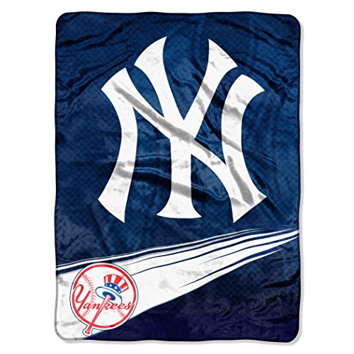 MLB New York Yankees Speed Plush Raschel Throw Blanket, 60x80-Inch