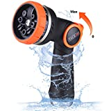 TACKLIFE Garden Hose Nozzle/Spray Nozzle 8 Patterns No-Squeeze Sprayer/High Pressure/Flow Control 0-max/Suitable for Car Washing, Garden Watering, Pets Showering丨GHN2A