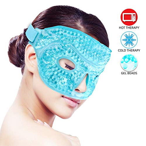 Ice Face/Eye Mask for Woman Man, Hot/Cold Reusable Gel Beads ice Mask with Soft Plush Backing,Hot Cold Therapy for Facial Pain,sleeping,Swelling,Migraines, Headaches,Stress Relief[Blue] ()