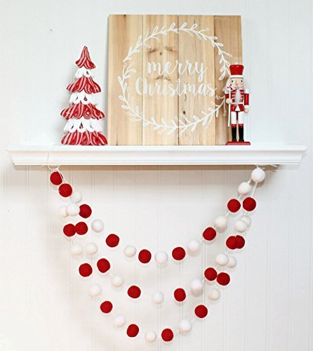 felt ball garland christmas christmas pom pom garland christmas decor red and white