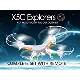 New Syma X5C Explorers Mode 2 Quadcopter Drone 2.4G 4CH RC HD Camera, Video, Lights, Complete W/ Batteries, USA