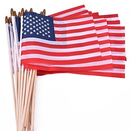 PETDUDE Small American Flags 5x8 Inch/Small US Flags/Mini American Flag on Stick/American Hand Held Stick Flags Spear Top (25 Pack)