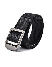 "Tactical Belt Men's Nylon Military Webbing Buckle Belt Adjustable for Waist up to 160cm/63"" for Big & Tall (Waist 56""-63"" / 140cm-160cm, Black)"