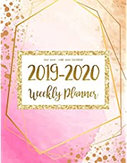 July 2019 - June 2020 Calendar: Two Year Daily Weekly Monthly Calendar Planner For To Do List Academic Schedule Agenda Logbook Or The Student And Teacher Organizer Notebook Journal | Pink Gold Watercolor Design