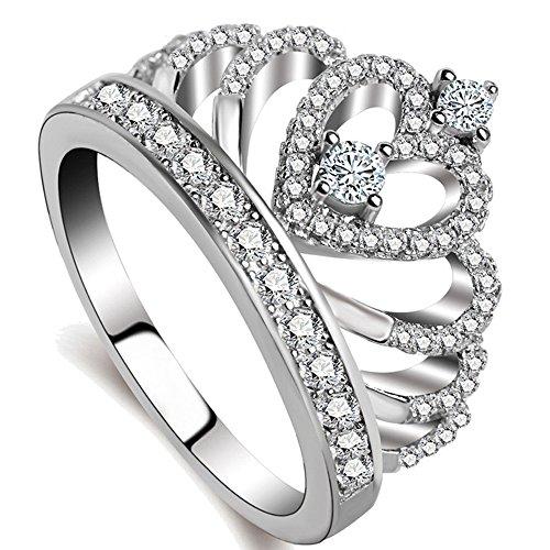 Meidiya Jewelry 925 Silver Princess Crown Ring Womens Fashion Engagement Wedding Promise Ring