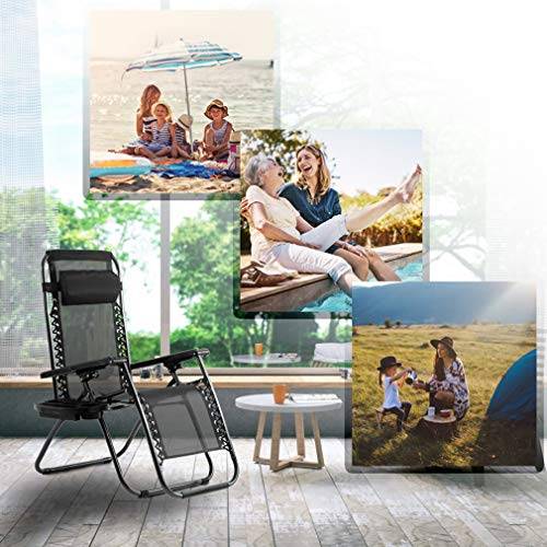 FDW Zero Gravity Chairs Set of 2 with Pillow and Cup Holder Patio Outdoor Adjustable Dining Reclining Folding Chairs for Deck Patio Beach Yard (Black)