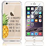iPhone se 5s 5 Soft TPU Silicone Bumper Colorful Case, Sunroyal Premium Bling Crystal Clear Ultra-thin Scratch Resistant Slim Transparent Protective Cover Skin Shell + Anti Dust Screen Protector Pineapple Pattern