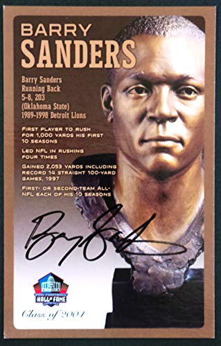 (PRO FOOTBALL HALL OF FAME Barry Sanders NFL Signed Bronze Bust Set Autographed Card with COA (Limited Edition #85 of 150) )