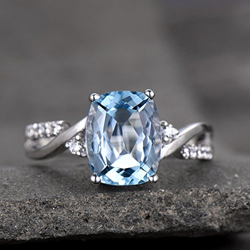 Topaz Ring Infinity Wedding Band Cushion Cut Blue Topaz Engagement Ring CZ Criss Cross Ring Silver White Gold Plated