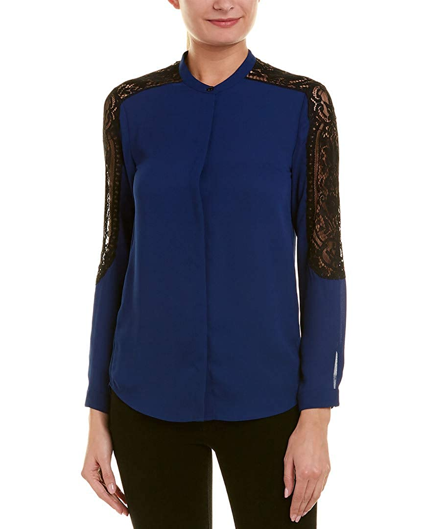 2261641ebb The Kooples Womens Lace Insert Shirt, Xs, Blue at Amazon Women's Clothing  store:
