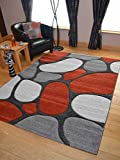 Rust Pebbles Thick Quality Modern Carved Rugs Runner Small Extra Large Soft Mat Cheap (160cm x 220cm)