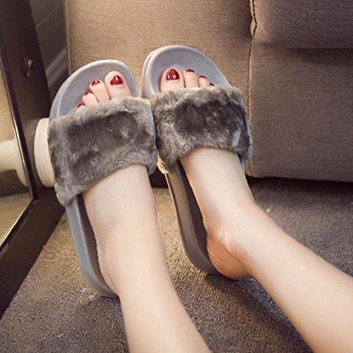Elevin (tm) Damesmode Winter Thuis Sandalen Slipper Indoor Outdoor Flip-flops Pluche Schoenen Grijs 1