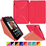 roocase Kindle Fire HD 7 2014 Case, new Kindle Fire HD 7 Origami 3D Slim Shell Case with Sleep / Wake Smart Cover [Supports Landscape, Portrait, Typing Stand] for All-New 2014 Fire HD 7 Tablet (4th Generation), Persian Rose / Ruddy Pink