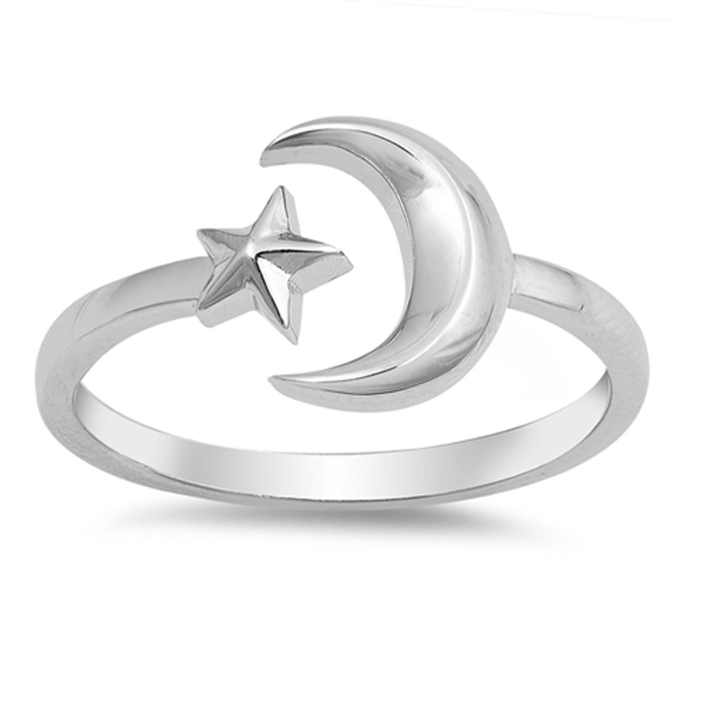 Open Crescent Moon Star Adjustable Ring New .925 Sterling Silver Band Sizes 4-10 Sac Silver