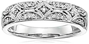 Sterling Silver Diamond Accent Band Ring, Size 6