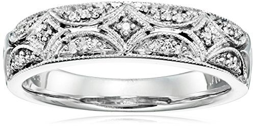 Sterling Silver Solid Fancy Ring - Sterling Silver Diamond Accent Band Ring, Size 6