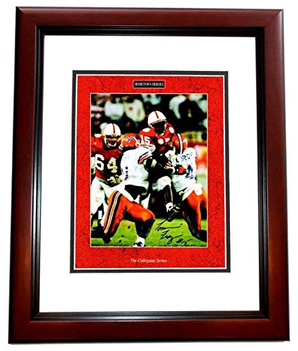 Signed Tommie Frazier Photograph - 8x10 inch MAHOGANY CUSTOM FRAME 1995 National Championship Game Guaranteed to pass or JSA - PSA/DNA Certified from Sports Memorabilia