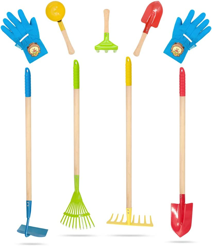 Hortem 8PCS Kids Gardening Tools Set Include 4PCS Long Rake, Shovel, Hoe, Leaf Rake with Metal Head and 3PCS Small Garden Tools, Kids Garden Gloves, Gardening Gifts for Children (Color)