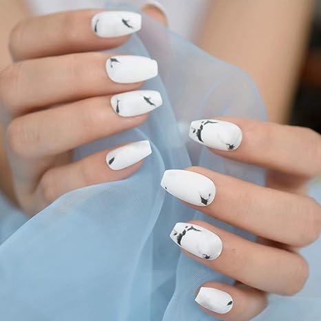 Amazon.com  Korean Nail Design White Marble Matte Coffin