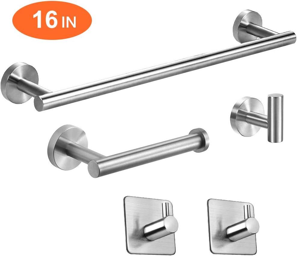 "TocTen 5-Piece Set-Bathroom Hardware Set-SUS304 Stainless Steel - Include 16"" Lengthen Hand Towel Bar+Toilet Paper Holder+3 Robe Towel Hooks Bathroom Accessories Kit, Wall Mounted, Brushed Nickel"