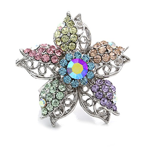 Flower Cocktail Ring Adjustable Band Size Multicolor Rhinestones Fashion Jewelry Charm (Flower 4) Flower Cocktail Adjustable Ring