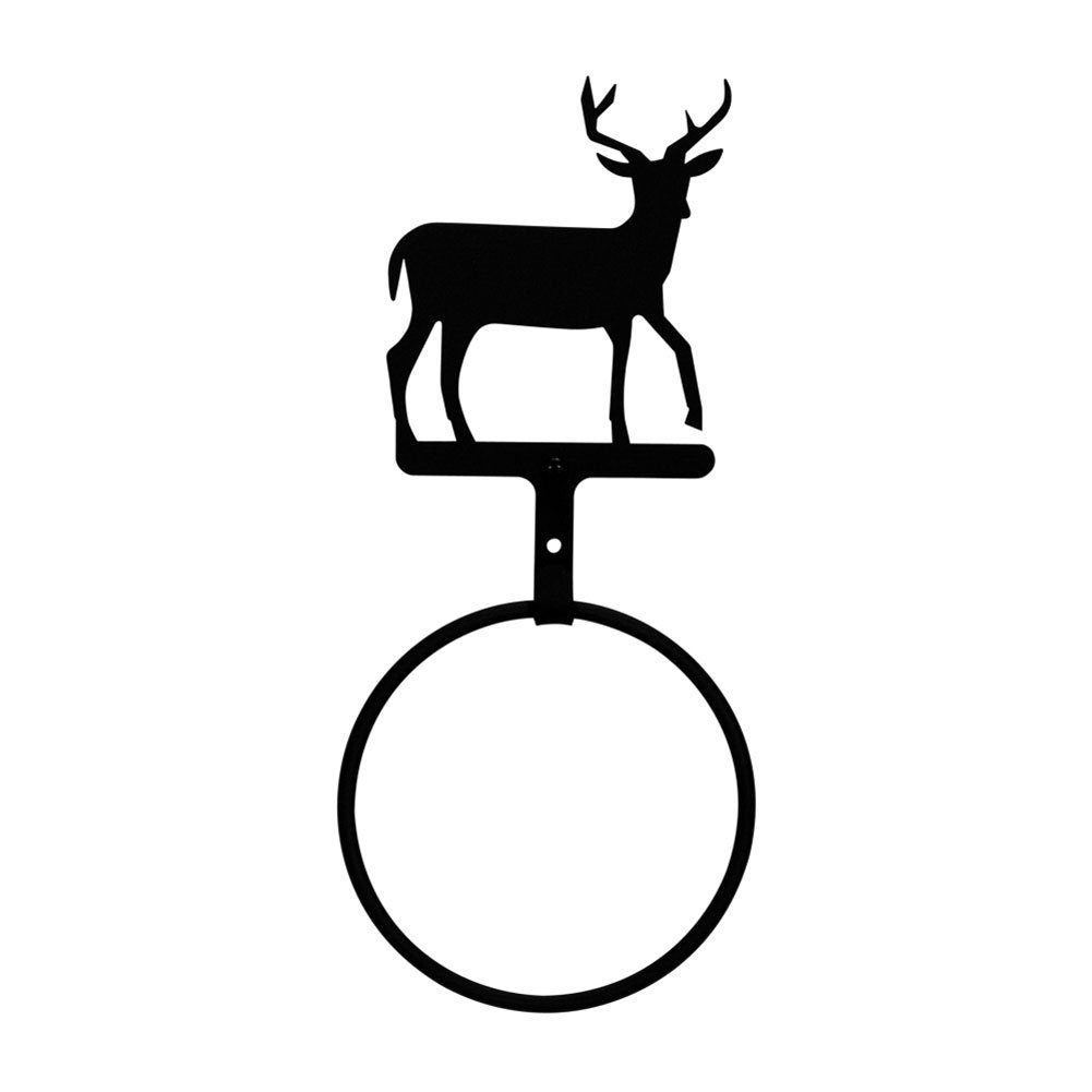 Iron Deer Towel Ring - Black Metal Bathroom Hanger by IronWorks