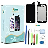 7iper Screen Replacement for iPhone 6 Plus 5.5 inch - LCD Display Touch Digitizer Frame Assembly Set with Proximity Sensor, Front Camera, Earpiece Speaker, Tempered Glass and Repair Tools (Black)