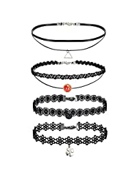 BodyJ4You 4 Pieces Black Layered Braided Choker Charm