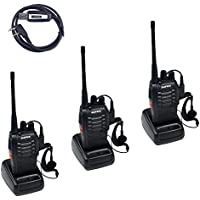 BaoFeng BF-888S (Pack of 3) Handheld 5W Two Way Ham Radio with Earpiece + USB Programming Cable (1 PC)