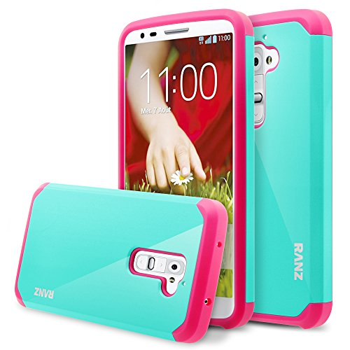 LG G2 Case, RANZ Hot Pink with Aqua Blue Hard Impact Dual Layer Shockproof Bumper Case for LG G2(AT&T D800, T-Mobile D801,Global D802) (Lg G2 Rubber Phone Case Verizon)