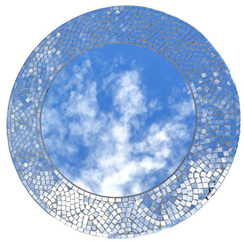 "Lulu Decor, Silvershine Mosaic Wall Mirror, Decorative Round Wall Mirror, Diameter 23.5"", Inside Mirror 15"", Perfect for Housewarming Gift (LP303)"