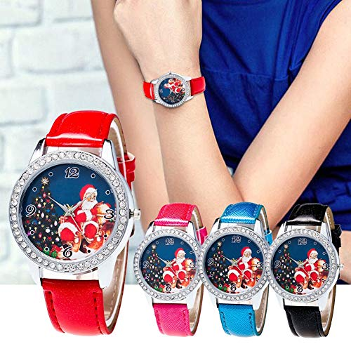 Christmas Pattern Rhinestone Dial Faux Leather Strap Couples Analog Quartz Wristwatch by Gaweb (Image #1)
