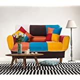 Merax 55-74 Multicolor Adjustable Loveseat Home Furniture Sofa with 2 Free Pillows, Colorful