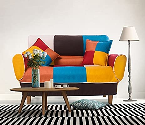 Merax 55 74u0026quot; Multicolor Adjustable Loveseat Home Furniture Sofa With 2  Free Pillows,