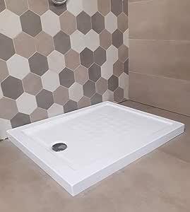 plato de ducha Acrílico reforzado H 5,5 X 70 X 180 cm. Blanco con desagüe Cromada hilo/encima de suelo: Amazon.es: Bricolaje y herramientas