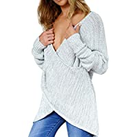 Hot Womens Sweater, ZOMUSA Casual Loose Sexy Deep V Neck Long Sleeve Pullover