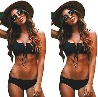 VRTYOC Costumi da Bagno Donna Due Pezzi Capestro Bendare Spiaggia Bikini Tinta Unita Push Up Costume da Bagno Swimwear Mare Spiaggia Estate Beachwear Swimsuit