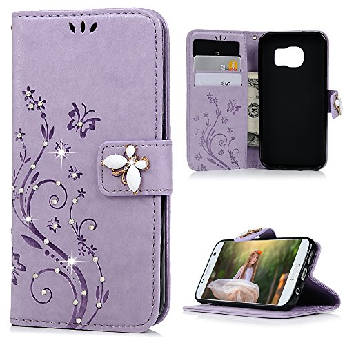 (Galaxy S7 Case, Mavis's Diary 3D Handmade Embossed Wallet Bling Diamonds Butterfly Flowers PU Leather Magnetic Flip Folio Protective Shockproof Cover Card Holders - Purple)