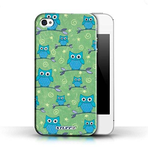 Etui / Coque pour Apple iPhone 4/4S / Bleu/Vert conception / Collection de Motif Hibou