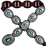 Turquoise Silver Concho Belt Navajo Santa Fe Style 1326