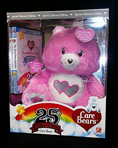 Special Collectors Edition Pink Care Bear 25th Anniversary Swarvoski Crystal Eyes with Bonus (25th Anniversary Bear)