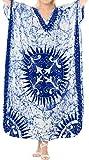LA LEELA Cotton Batik Long Caftan Hawaii Girls Royal Blue_409 OSFM 14-18W [L-2X]