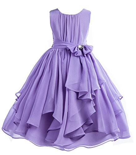 Chiffon Bodice (ekidsbridal Elegant Yoryu Chiffon Ruched Bodice Rhinestone Flower Girl Dress Wedding 162s 6)