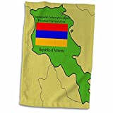 3dRose 777images Flags and Maps - Map and Flag of Armenia with Republic of Armenia printed in English and Armenian - 12x18 Hand Towel (twl_47320_1)