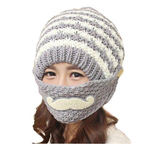 (Women Ladey Girls Winter Ear Protection Woolen Yarn Knitting Cap Warm Hat with Mustache Pattern Mask Grey)