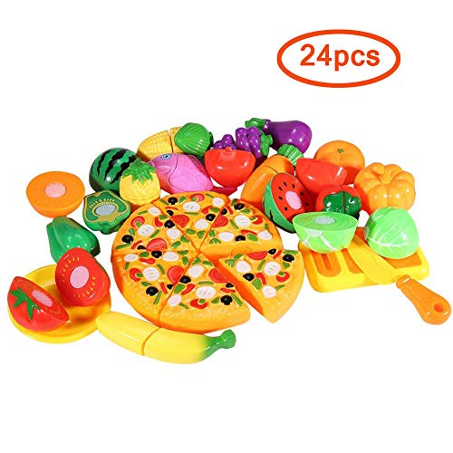 Fake Plastic Food (FunsLane Pretend Play Food Set, 24 Pcs Cutting Food Play Set for Kids, Kitchen Food Toys Fun Cutting Pizza Fruits Vegetables)