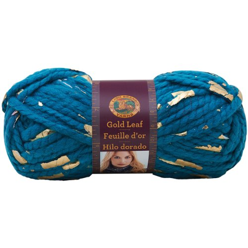 Yarn Leaf - Lion Brand Yarn 231-171 Gold Leaf Yarn, Teal/Gold