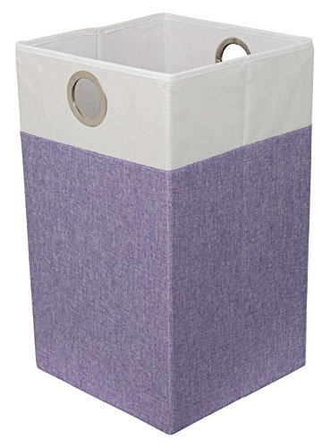BIRDROCK HOME Folding Cloth Laundry Hamper with Handles | Dirty Clothes Sorter | Easy Storage | Collapsible | Purple and White