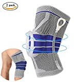 Knee Support Brace Compression Sleeves, Elastic & Adjustable Kneepad Silicon Padded Bracket/Patella Stabilizer/Warm Protector for Meniscus Tear Arthritis pain relief - 2 Pack Large