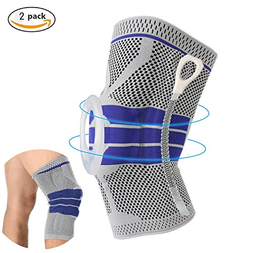 Knee Support Brace Compression Sleeves, Elastic & Adjustable Kneepad Silicon Padded Bracket/Patella Stabilizer/Warm Protector for Meniscus Tear Arthritis pain relief – 2 Pack Large